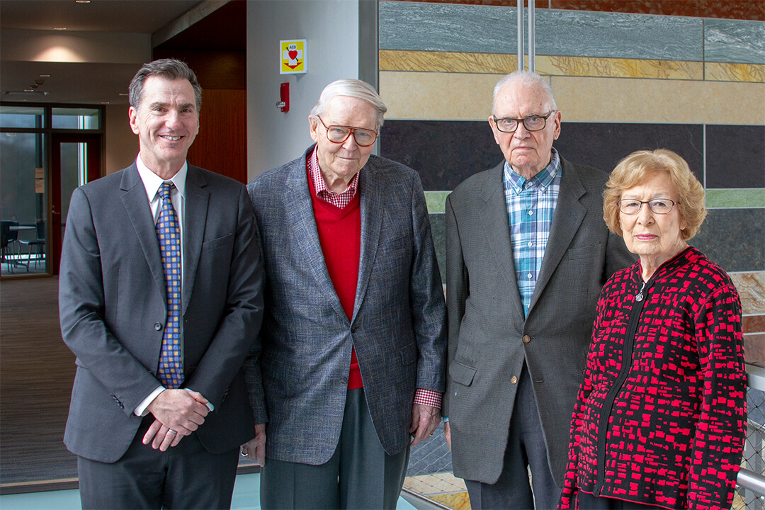 From left: Lee Feinstein (Founding Dean), Jean Creek, Former Rep. Lee H. Hamilton, and Doris Creek.