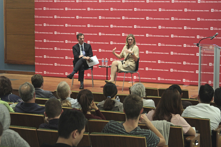 Amb. Kathleen Stephens speaks to SGIS Dean Lee Feinstein