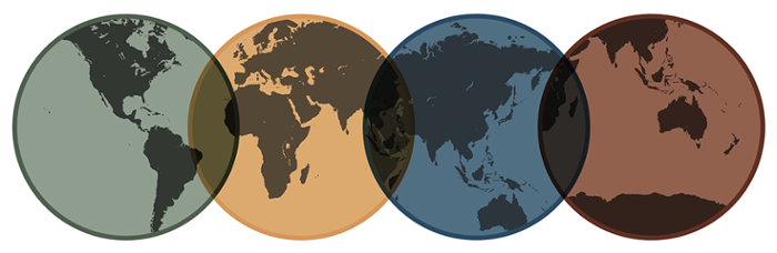 ARW Logo - 4 globes viewing different sides of the earth